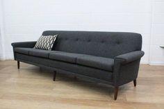 Original Danish Midcentury Four-Seat Sofa, Fully Restored in Wool 2