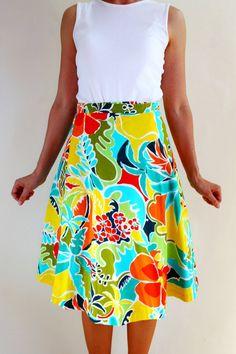 Sale  Mod Wrap Skirt Aqua Orange Green Yellow by gogovintage, $28.00