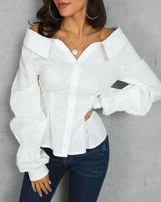 Camila is a pretty white blouse with bare shoulders. Its sleeves are puffy for a… Camila is a pretty white blouse with bare shoulders. Its sleeves are puffy for a casual chic look. Blouse buttons on the front Material: Polyester… Continue Reading → Fall Fashion Trends, Autumn Fashion, Fashion Ideas, Mode Costume, Fashion Magazin, Fall Shirts, Denim Shirts, Mode Style, Pattern Fashion