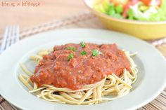 Easy Spaghetti Sauce - So good!  I used home-canned tomatoes with some tomato paste to thicken it up a bit.  I also used sausage instead of the ground beef.