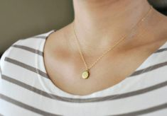 Tiny locket necklace - small vintage brass locket on gold filled chain - dainty jewelry