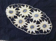 French Antique, Art Deco, Hand Cut Lace , (Richelieu Lace ) Sunflowers. An Exquisite Taupe Table Runner, Dresser Scarf, cushion Centerpiece. by fleursenfrance. Explore more products on http://fleursenfrance.etsy.com