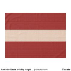 Rustic Red Linen Holiday Stripes Tablecloth