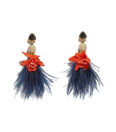 Multicolor earrings featuring orange fabric flowers and navy feathers with tan cord beads. ShopBazaar, shop designer clothing, shoes and accessories selected exclusively by the editors at Harper's Bazaar.