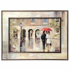 Red Umbrella Rendezvous Framed Art Print | Kirkland's