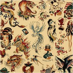 22x28.5 Print - Sailor Jerry x Ed Hardy Old School Vintage Tattoo Flash Poster by Superobot on Etsy https://www.etsy.com/listing/177188115/22x285-print-sailor-jerry-x-ed-hardy-old