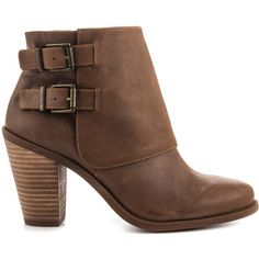 Jessica Simpson Women's Cainn - Bourbon Wntr Haze ($130) ❤ liked on Polyvore featuring shoes, boots, ankle booties, brown, faux leather boots, leather boots, short brown boots, brown ankle boots and brown booties
