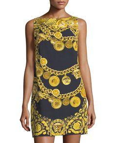 VERSACE Chain-Print Sleeveless Sheath Dress, Black Pattern. #versace #cloth # Versace Chain, Bateau Neckline, Black Pattern, Sheath Dress, Dress Black, Print Patterns, Dressing, Fantasy, Silk