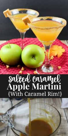 This Salted Caramel Apple Martini recipe is a delicious cocktail for the fall! It is easy to make and looks amazing when served in a caramel rimmed glass. Vodka Recipes, Martini Recipes, Drinks Alcohol Recipes, Drink Recipes, Cocktail Recipes, Fall Recipes, Crockpot Recipes, Punch Recipes, Keto Recipes
