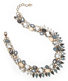 Grey crystal and glass stone statement necklace