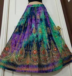 Ladies Boho Hippie Gypsy Long Skirt Party Sequin Rayon Tie Dye