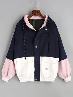 Color Block Hooded Corduroy Jacket - PURPLISH BLUE S
