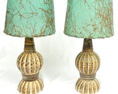 Mid Century 50s Hollywood Regency Lamp Pair  //  Vintage Shabby Chic Lighting on Etsy, $69.14 CAD