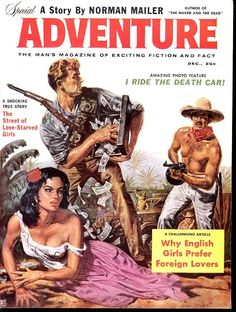 https://flic.kr/p/62Bs9m | Adventure Magazine, Cover Art - 1958 Dec | Tommy Gun cover