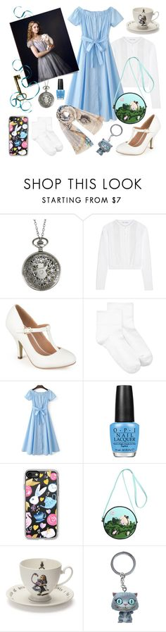 """Alice Goes to the Tea Room"" by inspiredsara ❤ liked on Polyvore featuring Disney, Oscar de la Renta, Journee Collection, Hue, WithChic, OPI, Casetify, Olympia Le-Tan, Mrs Moore and Burton"