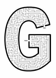 Alphabet Mazes - Capital Letter F Maze Letter Maze, Letter G, Letter Find, Letter Of The Week, Abc Worksheets, Printable Alphabet Letters, Mazes For Kids, Paper Plate Crafts For Kids, Maze Puzzles