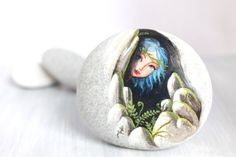 Painted stone. Ready to ship. Little elf , sprite of the forest painted pebbles. free shipping