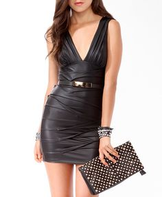 Tiered Leatherette Dress by Forever 21. ♥ I would wear this. Teehee.