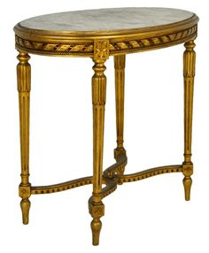 Louis XVI style gilt table with marble top