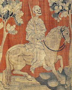 Le cheval livide et la mort. Détail de la douzième pièce de la première tapisserie de la Tenture de l'Apocalypse d'Angers - (entre 1373 & 1382)