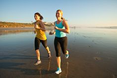 Running on the beach in Carlsbad, California