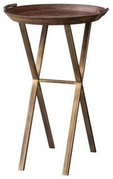 Threshold Wood and Brass Finish X-Base Accent Table contemporary side tables and accent tables