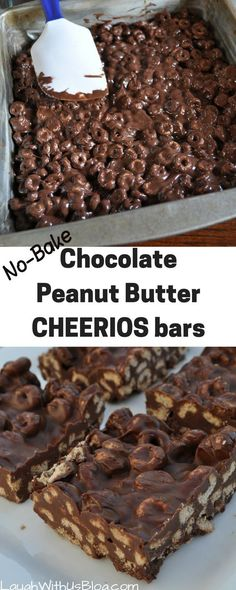 Chocolate Peanut Butter Cheerio Bars Tastes like a chocolate peanut butter candy bar!Tastes like a chocolate peanut butter candy bar! Cereal Treats, No Bake Treats, No Bake Desserts, Yummy Treats, Sweet Treats, Cereal Bars, Fast And Easy Desserts, Cheerio Treats, Pudding Desserts