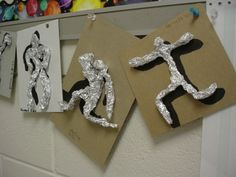 "These are a nice 3-D addition to our intro on gesture drawing...   ... each one is made from a sheet of aluminum foil, about 12"" long. ..."