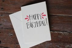 Hand Lettered 'Happy Birthday' Card by PaperInkLoveDesign on Etsy