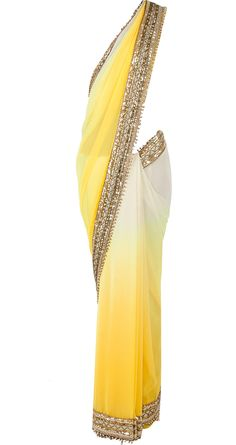 Yellow ombre sari with sequinned blouse available only at Pernia's Pop-Up Shop. always loved saris. Indian Attire, Indian Ethnic Wear, Indian Dresses, Indian Outfits, Indian Clothes, Salwar Kameez, Kaftan, Bridesmaid Saree, Bridesmaids