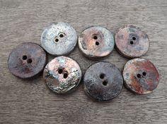 Ceramic button 28mm / 11  round button raku by BlueBirdyDesign