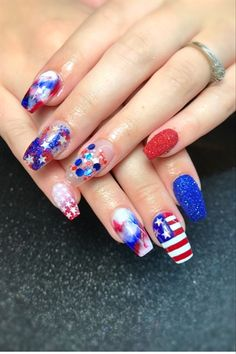 182 Best Fourth Of July Nail Art 4th Images On Pinterest In 2018