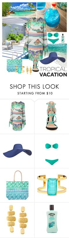 """""""Tropical multicolor dress"""" by kmaryk ❤ liked on Polyvore featuring Seychelles, MSGM, ALDO, Melissa Odabash, Kate Spade, Marco Bicego, Hawaiian Tropic, multicolordress and AmiciMei"""