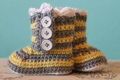 CROCHET PATTERN PDF - Crochet Baby Girl Striped Boots - Crochet Booties. $5.50, via Etsy.