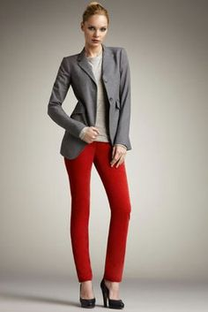 Gray Blazer + Red Jeans Red Jeans, Wardrobe Basics, Office Wear, Cute Outfits, Work Outfits, What To Wear, Style Inspiration, My Style, Grey