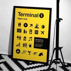 Terminal 1 poster #airport #terminal #helvetica #pictogram #nightclub #Helsinki #lufthansa #navigation #poster #design #graphicdesign #thedesigntip #party #icons #unicorn #pilot #stuardess #plane #sky #dribbble #behance