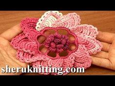 Crochet 3D Puff Stitch Center Flower Tutorial 91 - YouTube