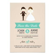 #Cute Wedding Couple Invitation Card - #savethedate #wedding #love #card #cards #invite #invitation