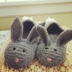 DIY knitted bunny slippers for women.