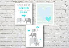 Elephants printable nursery art set by PinkMilkshakeDigiArt, £8.50