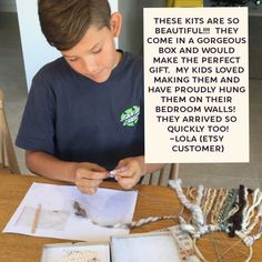 Thanks for sharing your thoughts. It really means a lot to us. Each kits is made and assembled by hand. We chose the cutest materials and we just love hearing that our customers like it to! Fun Crafts, Diy And Crafts, Crafts For Kids, Dream Catcher Kit, Beautiful Dream Catchers, Crafty Kids, Gifts For Girls, Diy Kits, Craft Projects