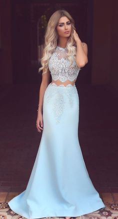 Amazing Two Pieces Mermaid Lace Applqiues Light Sky Blue Prom Dresses
