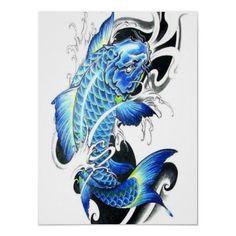 Japanese koi in blue