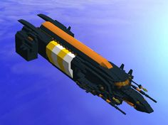 Scarba Transport: The Scarba is a blockade runner transport-- meaning it is fast, sturdy and lightweight. It does not have a great deal of cargo space, but it is a capable hauler and can reach speeds greater than those of a cruiser while withstanding heavy fire. It also has multiple gun emplacements, acting as a deterrent to most would-be attackers.   http://mocpages.com/moc.php/413323