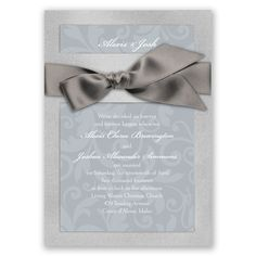 Treasured Jewels Pattern Wedding Invitation by David's Bridal #weddinginvitations #grayweddings #davidsbridal