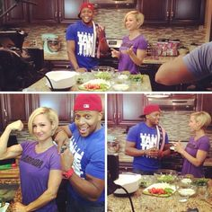Hit'em with that #Texas flex! I had a great time filming with the incomparable @jamieeasonmiddleton yesterday for a family #mealprep series coming soon! 3 healthy recipes for breakfast, lunch & dinner. Quinoa breakfast casserole with streusel topping, teriyaki chicken kabobs with homemade thai protein peanut sauce, and loaded green chili enchiladas. This was definitely a awesome moment to film with such a respected person in fitness that has touched millions of lives around the globe through…