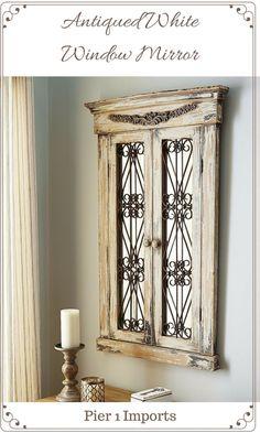 Antiqued White Window Mirror #ad, #mirror, #home