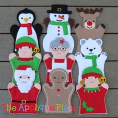 Set of 9 Christmas Puppets - hand and finger - In The Hoop Machine Embroidery Applique Designs