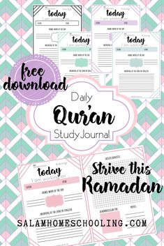 - A daily Quran study journal, FREE PRINTABLE! Connect with the Book of Allah this Ramadan! An easy, manageable study routine for every Muslimah, even the busiest Muslim mom! Printable Planner, Free Printables, Ramadan Activities, Daily Planner Pages, Quran Recitation, Study Journal, Islam Facts, Islamic Inspirational Quotes, Planer