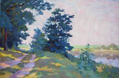 Forest near Lake, oil painting on canvas, 45 x 70 cm, (17″ x 27″), $ 2,000